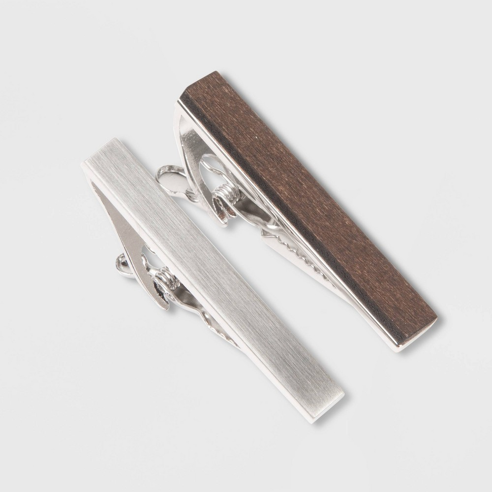 Image of Men's 45mm Brushed Wood and Rhodium Tie Clip 2pc - Goodfellow & Co Silver/Brown One Size, Men's, Silver Brown