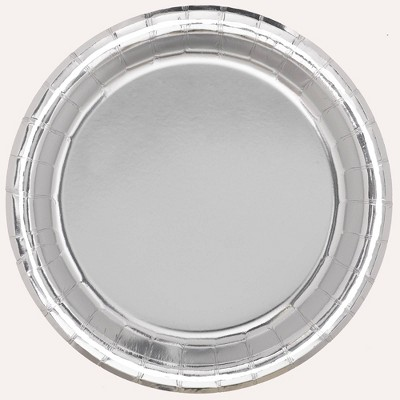 """8.5"""" 20ct Disposable Dinner Plates Silver - Spritz™"""