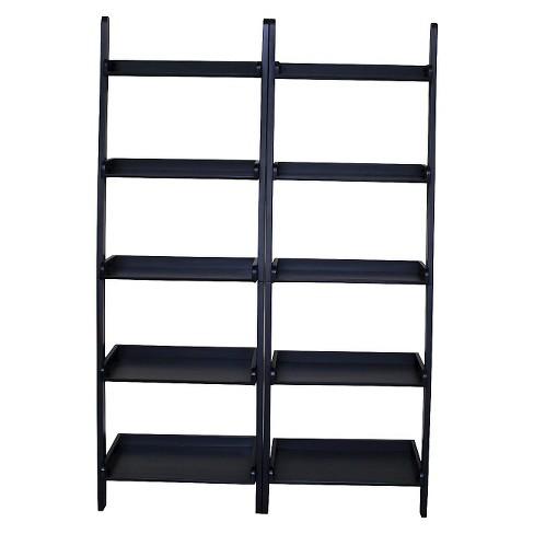 75 5 5 Shelf Leaning Bookcase Black Set Of 2 International Concepts