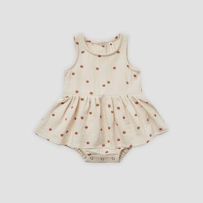 Q by Quincy Mae Baby Girls' Apples Gauze Bodysuit Dress - Off-White