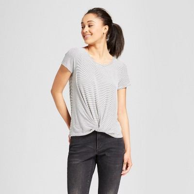 Women's Striped Short Sleeve Twist-Front T-Shirt - Mossimo Supply Co.™ Black L