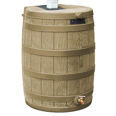 Good Ideas Rain Wizard 50 Gallon Plastic Rain Barrel Water Collector, Khaki