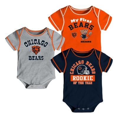 Chicago Bears Boys' Newest Fan 3pk Bodysuit Set 3-6M