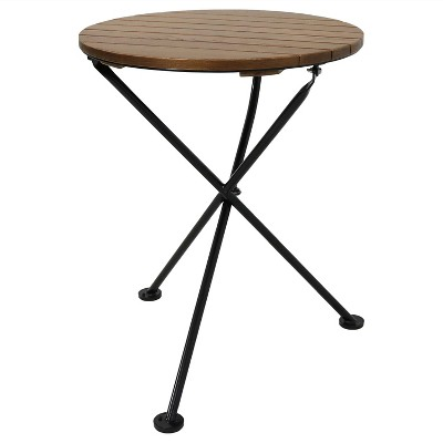 """Sunnydaze Indoor/Outdoor French Country European Chestnut Wood Folding Round Bistro Table - 24"""" - Brown"""