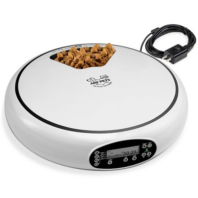 Arf Pets Automatic Pet Feeder, 5 Meal Food Dispenser for Dogs, Cats & Small Animals w/Programmable Digital Timer, Portion Control, Dishwasher-Safe Tray Feeds Wet or Dry Food - (Serves 4 Meals Per Day)