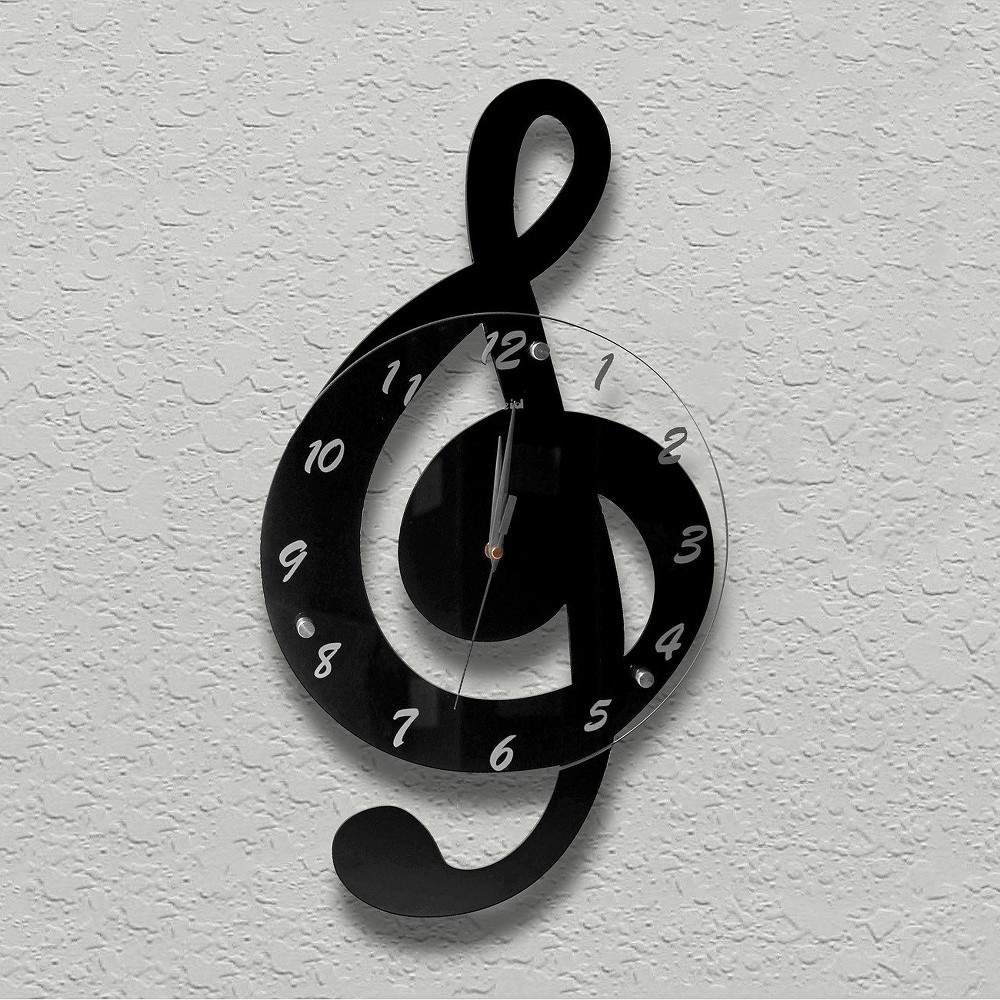 Treble Clef Wall Clock Black - Creative Motion Industries