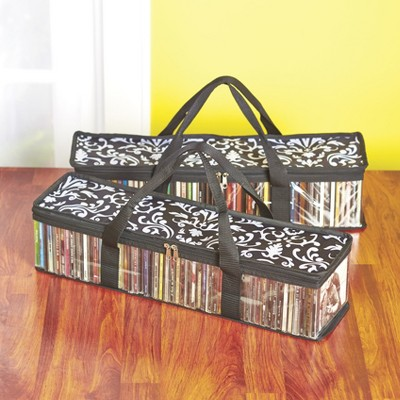 Lakeside Damask CD Case Storage Bags with Zipper Closure - Set of 2