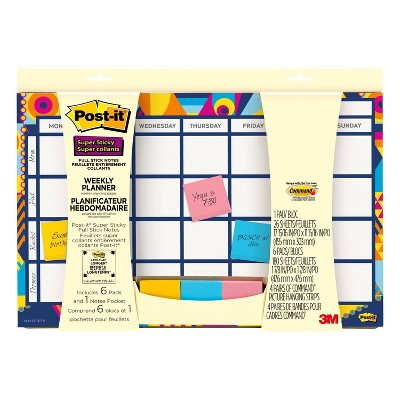 "Undated Post-it 18"" x 12"" Weekly Calendar - 26 Planner Sheets + 150 Full Stick Notes"
