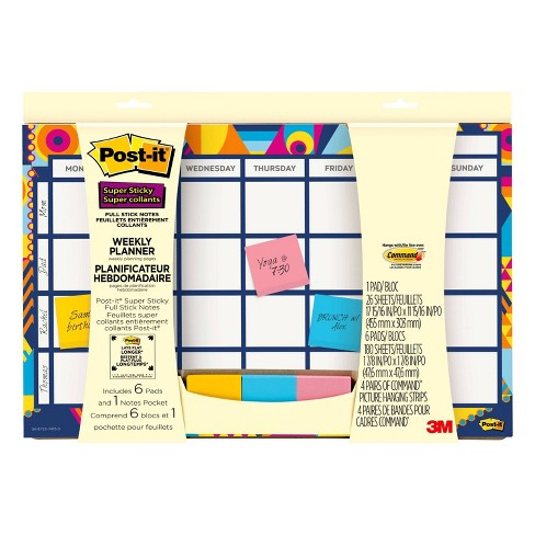 "Undated Post-it 18"" x 12"" Weekly Calendar - 26 Planner Sheets + 150 Full Stick Notes - image 1 of 3"