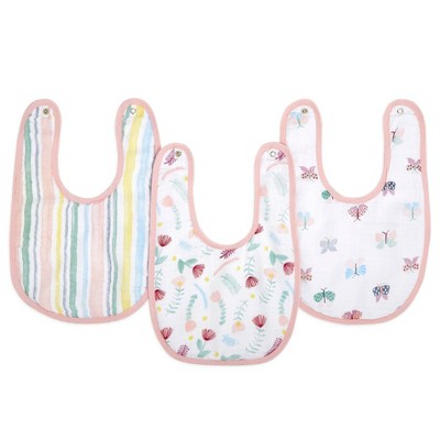 Aden By Aden + Anais Essentials Water Resistant Snap Bib Master - Floral Funa - 3pk