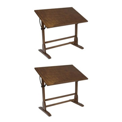 Studio Design Vintage Drawing Drafting Wooden Craft Desk, Rustic Oak (2 Pack)