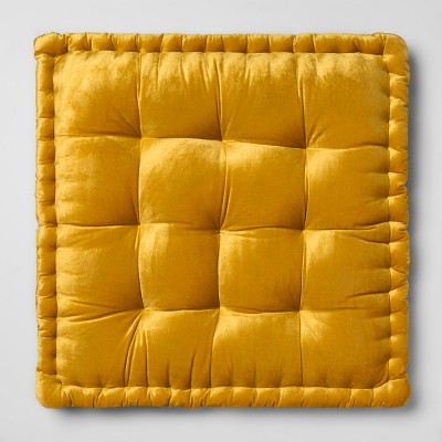 Velvet Oversize Square Floor Cushion Yellow - Opalhouse™