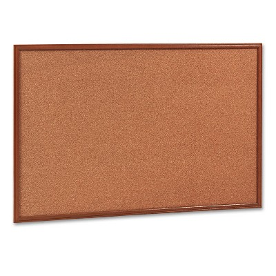 Mead Cork Bulletin Board 36 x 24 Oak Frame 85366