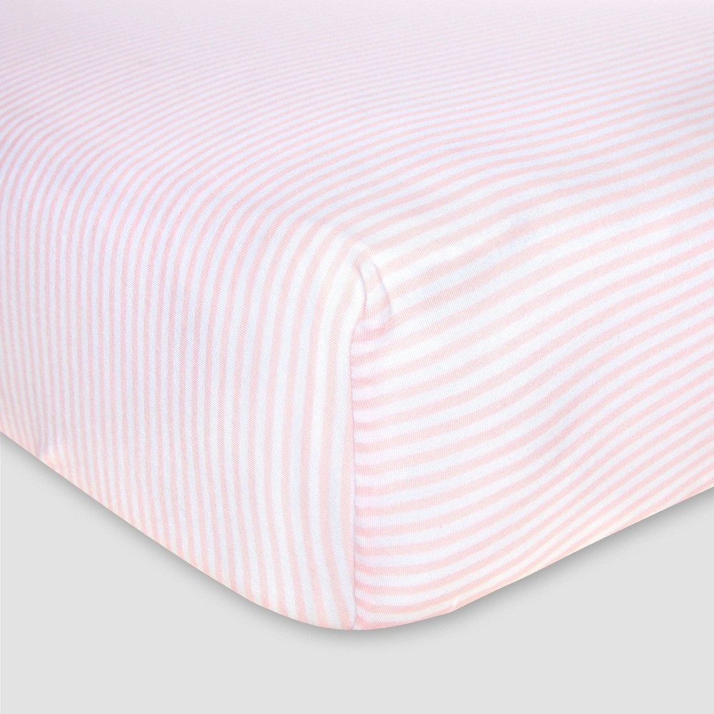 Image of Burt's Bees Baby Organic Fitted Crib Sheet - Bee Essentials - Pink
