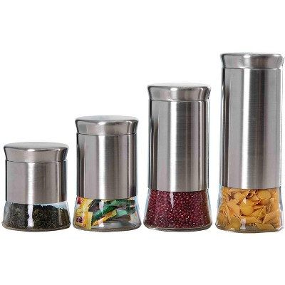 Home Basics Essence Collection 4 Piece Stainless Steel Canister Set