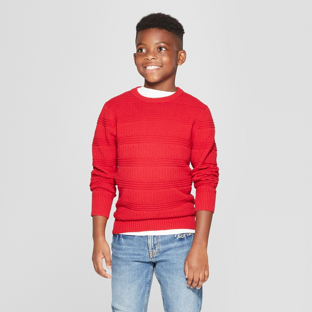 Boys' Long Sleeve Pullover Sweater - Cat & Jack Red XS
