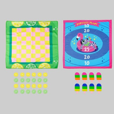 "2ct Beach Game 27.5""x27.5"" Mats (Checkers/Popsicle Plop) - Bullseye's Playground™"
