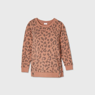 Maternity Leopard Print Snap Side Sweatshirt - Isabel Maternity by Ingrid & Isabel™ Beige XXL