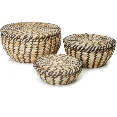 Woven Seagrass Storage Baskets with Lids for Storage Laundry, Picnic and Grocery Basket in 3 Sizes