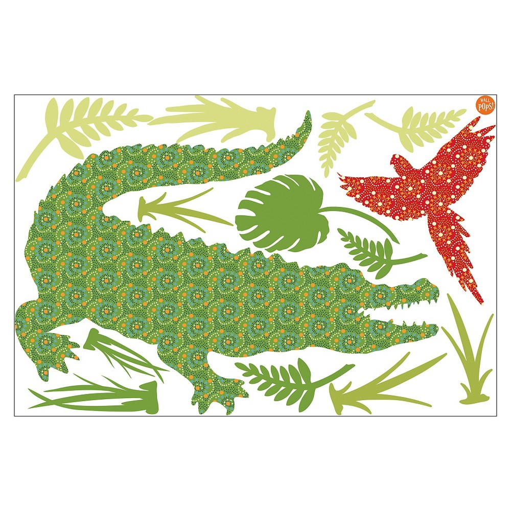 Image of WallPops! Amos The Crocodile Wall Art Kit - Green/Red