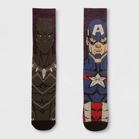 69a9f6e17725 Men's Marvel Avengers 2pk Mismatched Athletic Crew Socks - Purple 6 ...