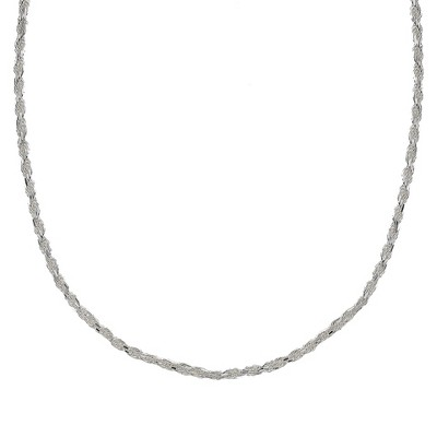 Sterling Silver Rope Chain Necklace - Silver