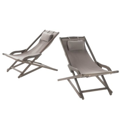 Nikki Set of 2 Wood and Canvas Sling Chair - Christopher Knight Home