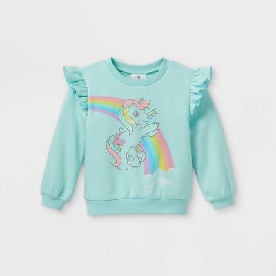 Toddler Girls' My Little Pony Fleece Crew Neck Pullover - Light Blue