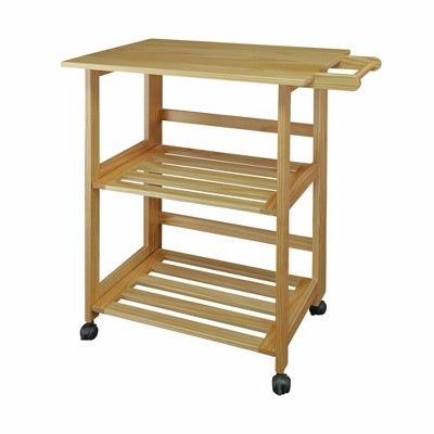 Folding Kitchen Cart with Two Shelves and One Handle Natural - Flora Home