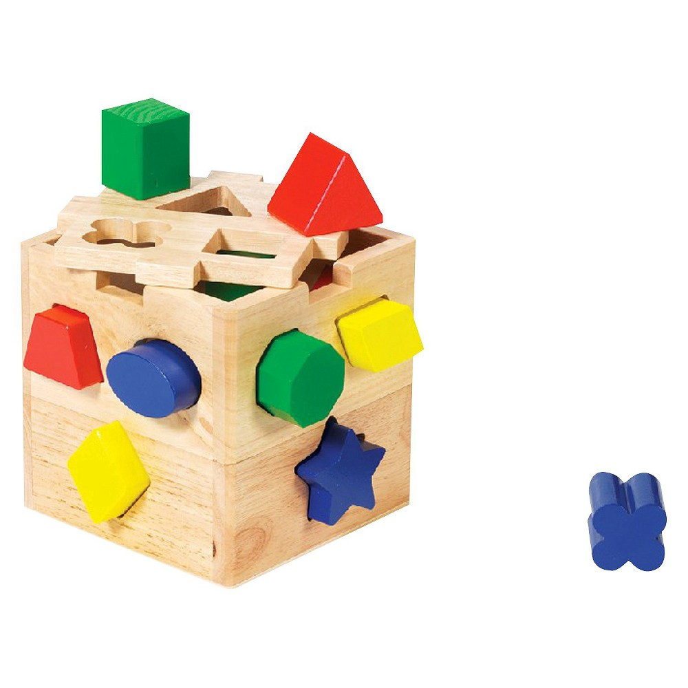 Melissa and Doug Shape Sorting Cube - Classic Wooden Toy With 12 Shapes
