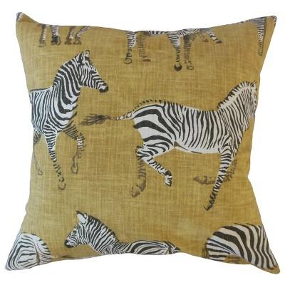 Zebra Print Square Throw Pillow Yellow - Pillow Collection