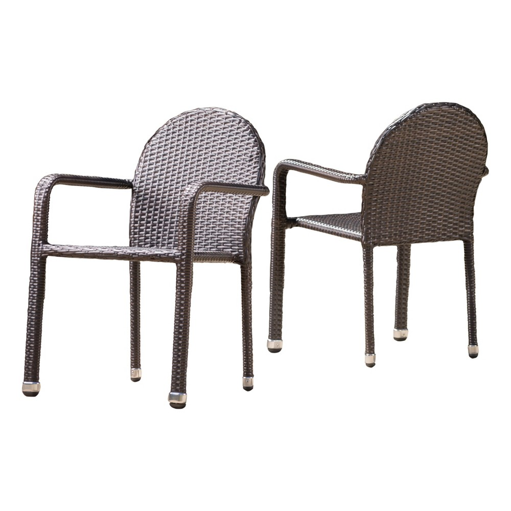 Aurora 2pk Wicker Armed Stacking Chairs - Brown - Christopher Knight Home