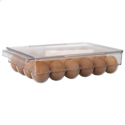 Home Basics Stackable 24 Compartment BPA Free Plastic  Extra Large Egg Holder Storage Tray with Lid, Clear
