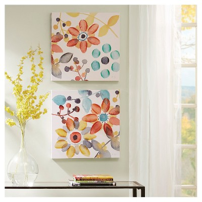 "(Set of 2)20"" Square Sweet Florals Canvas With Hand Embellishment"