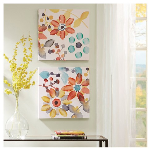 """(Set of 2) 20"""" Square Sweet Florals Canvas With Hand Embellishment - image 1 of 4"""