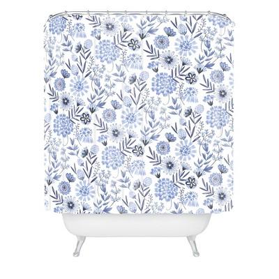 Floral 3 Shower Curtain Blue - Deny Designs