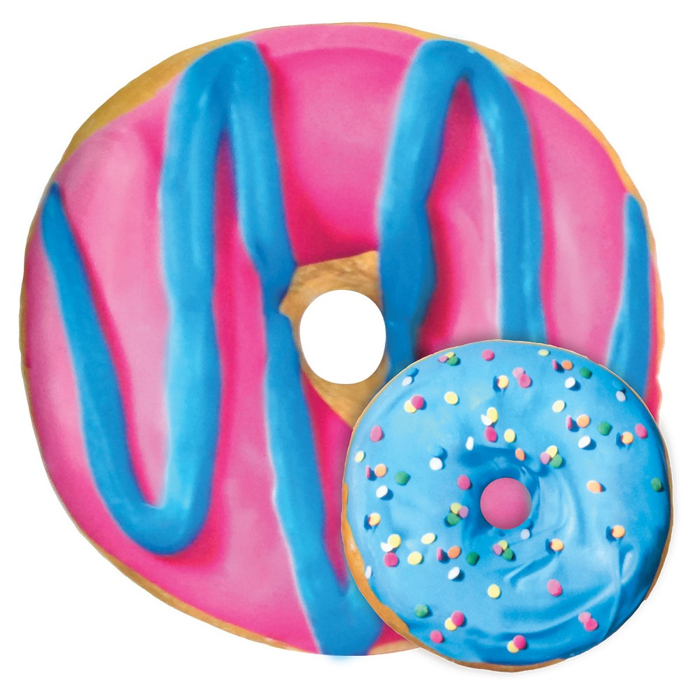 Image of Blue and Pink Donut Microbead Pillow