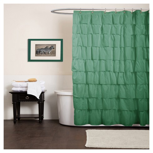 Ruffle Shower Curtain Green
