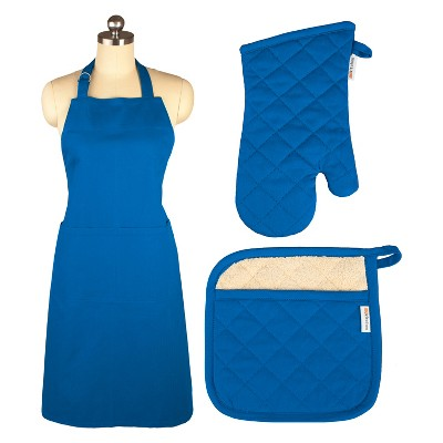 Cooking Apron/Mitt/Pot holder 3pc Set Blue - Mu Kitchen