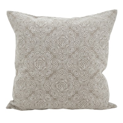 Saro Lifestyle 18 x18  Stitched Hearts Square Down Filled Throw Pillow Gray