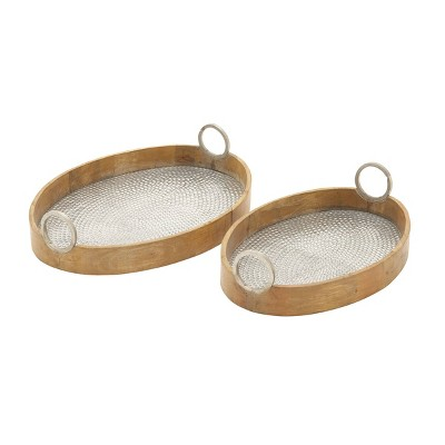 Set of 2 Oval Eclectic Metal and Wood Trays with Handles - Olivia & May