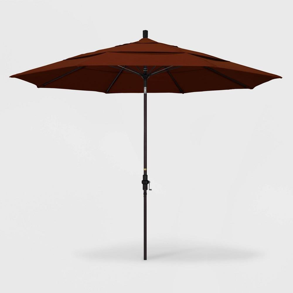 Image of 11' Sun Master Patio Umbrella Collar Tilt Crank Lift - Pacifica Brick - California Umbrella