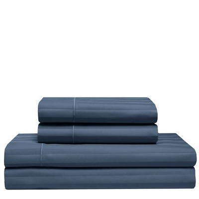 Queen 525 Thread Count Satin Stripe Cooling Cotton Sheet Set Dusk Blue - Elite Home Products