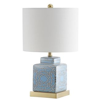 "22"" Catherine Ceramic/Metal Ginger Jar LED Table Lamp Blue (Includes Energy Efficient Light Bulb) - JONATHAN Y"