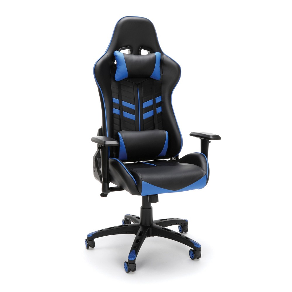 Racing Style Adjustable Gaming Chair with Lumbar Support Blue - OFM