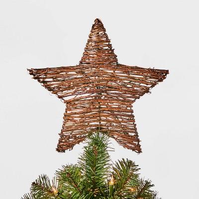 11.5in Unlit Grapevine Wrapped Star Tree Topper Brown - Wondershop™