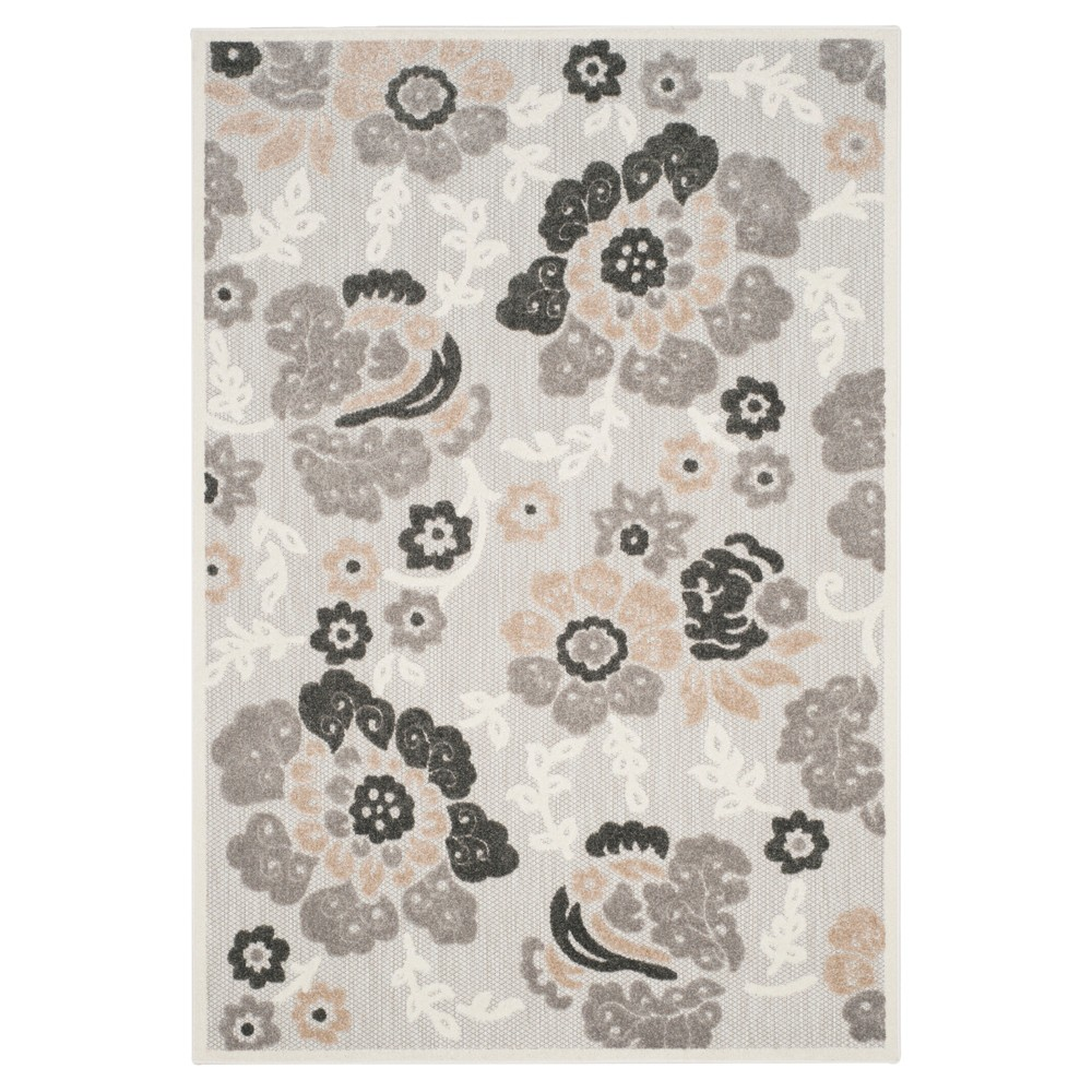 Gray Floral Loomed Area Rug 5'3