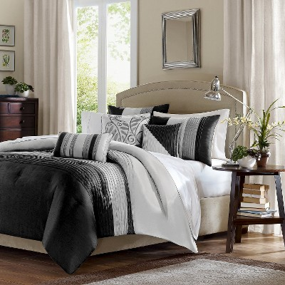 Black/White Salem Pleated Duvet Cover Set Queen 6pc - JLA Home