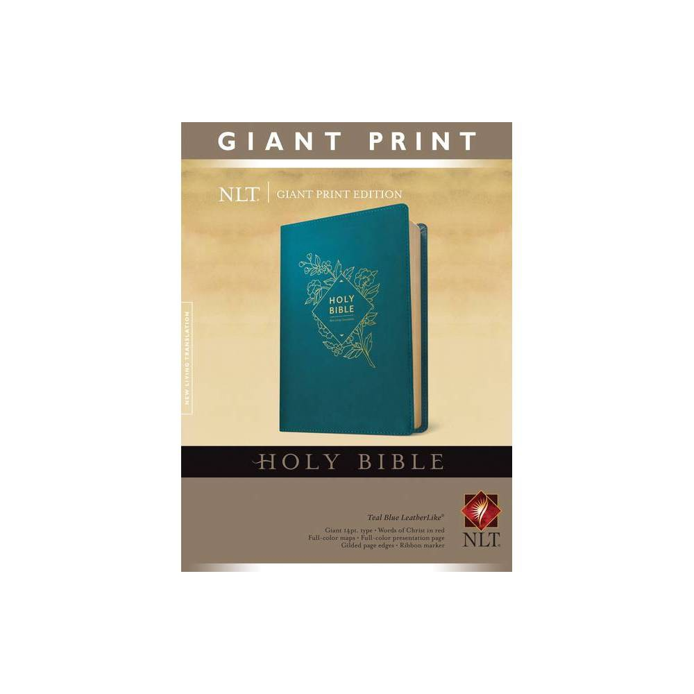 Holy Bible Giant Print Nlt Red Letter Leatherlike Teal Blue Large Print Leather Bound