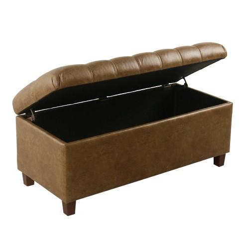 Stupendous Ainsley Button Tufted Storage Bench Faux Leather Light Brown Homepop Machost Co Dining Chair Design Ideas Machostcouk